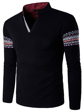 Ericdress Ethnic Style V-Neck Print Long Sleeve Men's T-Shirt