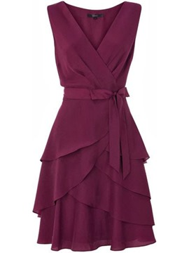 Ericdress Solid Color V-Neck Belt A Line Dress