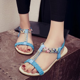 Ericdress Lovely Rhinestone Floral Print Beach Sandals