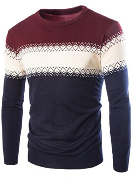 Ericdress Color Block Jacquard Men's Sweater