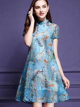 Ericdress Stand Collar Floral Print Empire Waist A Line Dress