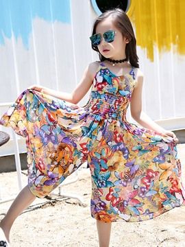 Ericdress Vogue Chiffon Nipped Waist Wide Legs Girls Jumpsuit