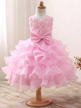 Ericdress Tiered Pleats Tulle 3D Flowers Bowknot Flower Girl Dress