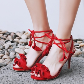 Ericdress Sweet Purfle Lace up Stiletto Sandals