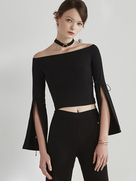 Ericdress Split Sleeve Slash Neck Crop T-Shirt