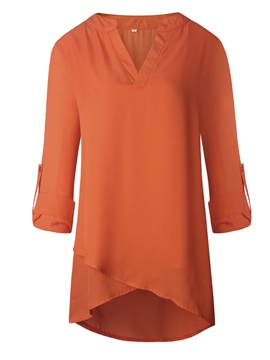 Ericdress V-Neck Solid Color Asymmetric Blouse