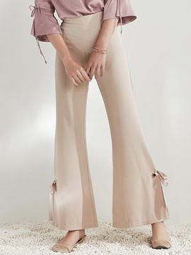 Ericdress High Waisted Flared Light khaki Women's Pants