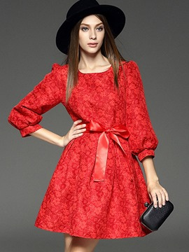 Ericdress Print Bowknot Lantern Sleeve A Line Dress