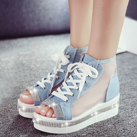 Ericdress Mesh Patchwork High Top Lace up Wedge Sandals