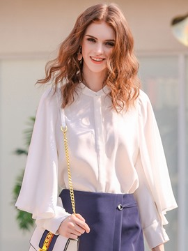 Ericdress Solid Color Chiffon Lantern Blouse