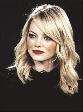 Ericdress Emma Stone Glod Long Wavy Side Part Capless Synthetic Hair Wig 14 Inches