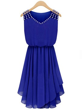 Ericdress Solid Color Chiffon Patchwork Casual Dress