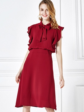 Ericdress Solid Color Bowknot Ruffle Sleeve A Line Dress