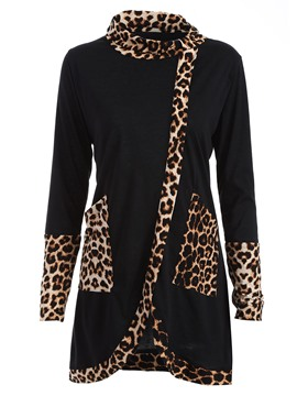 Ericdress Casual Leopard Patchwork T-Shirt