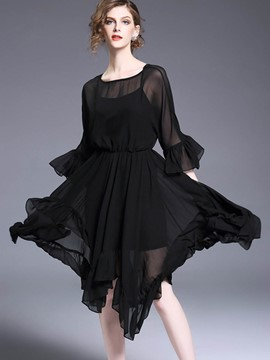 Ericdress Ruffle Sleeve Pleated Asymmetrical Maxi Dress