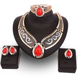 Ericdress Red Water Droplets Pendant European Style Jewelry Set