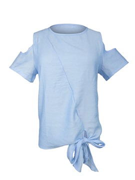 Ericdress Cold Shouler Bow Knot Blue T-Shirt