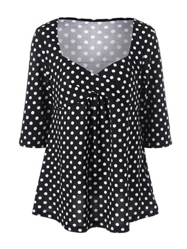 Ericdress Polka Dots Plus Size Blouse
