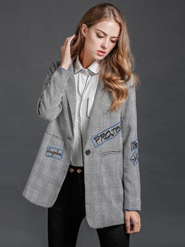 Ericdress Loose Plaid Letters Blazer