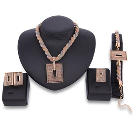 Ericdress Rectangle Hollow Pendant Multilayer Braiding Jewelry Set