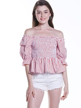 Ericdrss Striped Off-Shoulder Pelplum Pleated Blouse