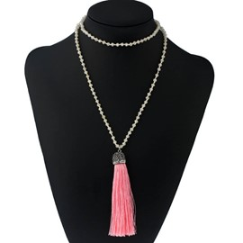 Ericdress Brief Diamante Tassel Long Charm Necklace