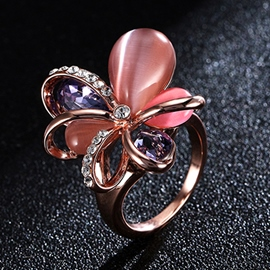 Ericdress Pink Opal Flower Golden E-Plating Ring