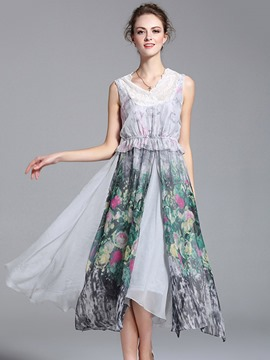 Ericdress Print Patchwork Split Maxi Dress