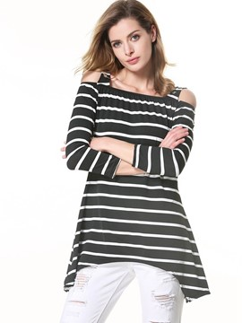 Ericdress Cold Shoulder Striped Loose T-Shirt