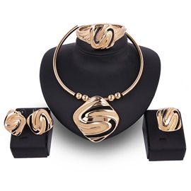 Ericdress Gold Geometric Design Carved Four-Pieces Jewelry Set