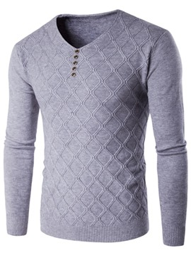 Ericdress Diamonds Pattern V-Neck Men's Sweater