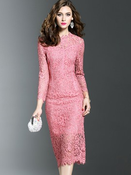 Ericdress Round Neck See-Through Hollow Lace Dress