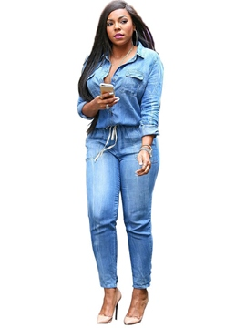 ericdress Licht Spitzen-up jumpsuits Denim Revers der Frauen