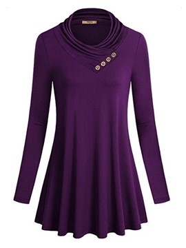 Ericdress Cowl Neck Form Fitting Casual Tunic T-Shirt