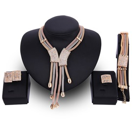 Ericdress Rhinestone Embellished Multilayer Alloy Jewelry Set