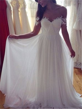 A-Line Floor-Length Ruched Off-The-Shoulder Beach Wedding Dress