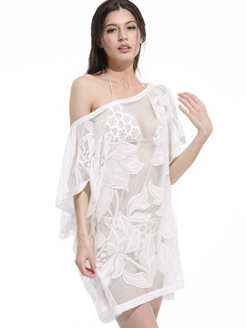 Ericdress White Exquisite Embroidery Cover-Up