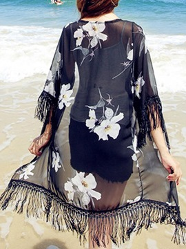 Ericdress Delicate Flower Print Half Sleeve Cover-Up