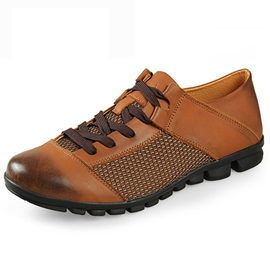Ericdress Patchwork Round Toe Lace up Men's Oxfords