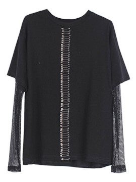 Ericdress Mesh Patchwork Pins Oversized T-Shirt