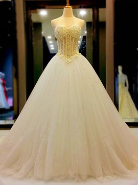 Ericdress Sweetheart Ball Gown Pearls Tulle Wedding Dress