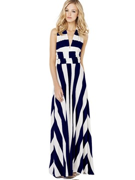 Ericdress changeable Style Strip Patchwork Maxi Dress