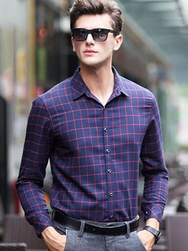 Ericdress Long Sleeve Plaid Classic Men's Shirt