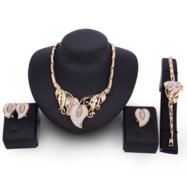 Ericdress Golden Leaf Diamante Design Charming Jewelry Set