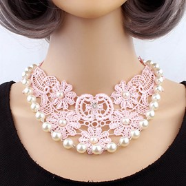 Ericdress Hot Lace & Pearl Pink Charm Necklace