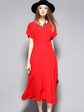 Ericdress Batwing Sleeve V-Neck High-Waist Maxi Dress