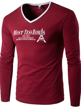 Ericdress V-Neck Print Long Sleeve Men's T-Shirt
