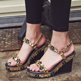 Ericdress Golden Flower Metal Wedge Sandals