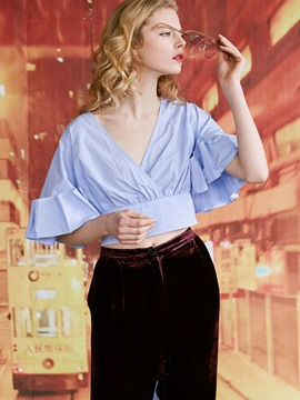Ericdress V-Neck Flare Sleeve Crop Blouse