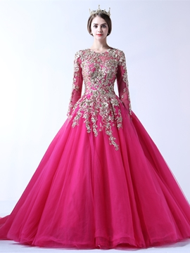 Ericdress Long Sleeve Applique Ball Evening Dress With Court Train